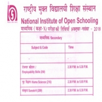 NIOS 10th Date Sheet 2018 for Secondary(Class10th
