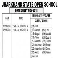 Jharkhand State Open School - Announced 10th Class Date Sheet 2018