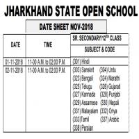Jharkhand State Open School Date Sheet 2018 for 12th Class