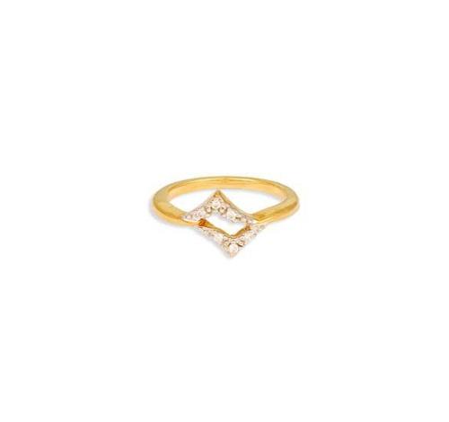 18 Karat Yellow Gold Finger Ring With Diamonds