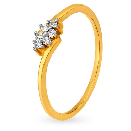 18KT Yellow Gold Diamond Floral Finger Ring
